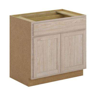 Stratford Assembled 36x34.5x24 in. Base Cabinet with Soft Close Drawer in Unfinished Oak