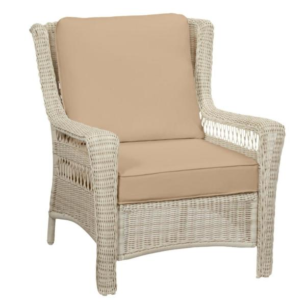 Park Meadows Off-White Wicker Outdoor Patio Lounge Chair with Sunbrella Beige Tan Cushions