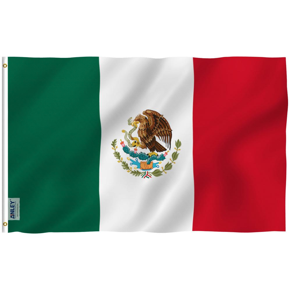 ANLEY Fly Breeze 3 ft  x 5 ft  Polyester Mexican Flag 2-Sided Flags Banner  with Brass Grommets and Canvas Header