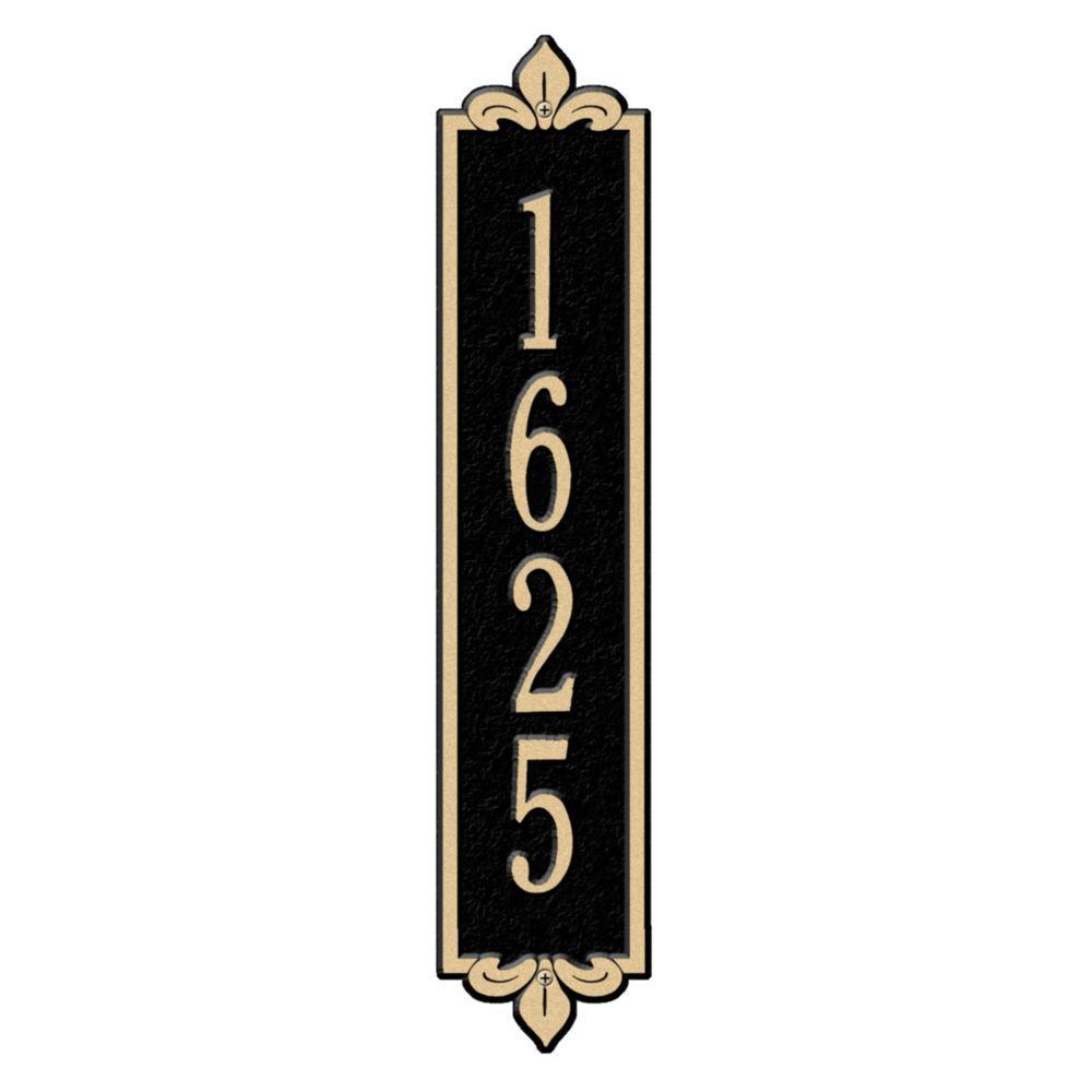 Rectangular Lyon Standard Wall 1-Line Vertical Address Plaque - Black/Gold