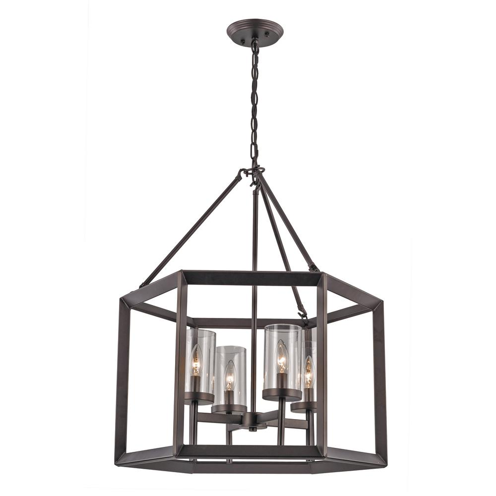 Bel Air Lighting 4-Light Rubbed Oil Bronze Pendant with Glass Shades