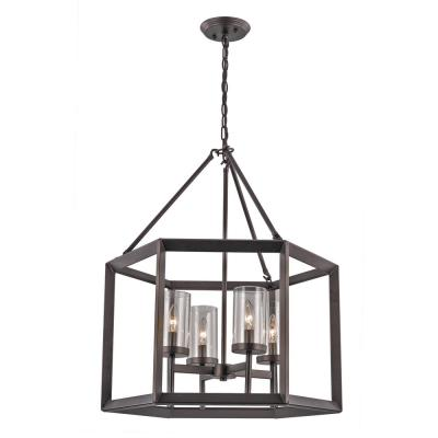4-Light Rubbed Oil Bronze Pendant with Glass Shades