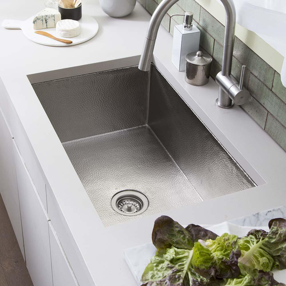 NATIVE TRAILS Undermount Copper 30 in. Single Bowl Kitchen Sink in Brushed  Nickel