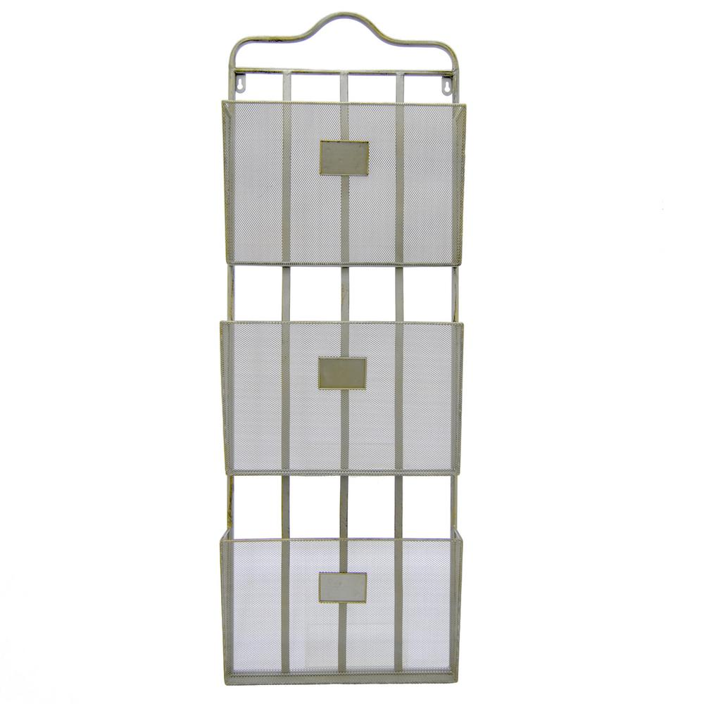 13 in. x 3.5 in. Metal Wall Storage Rack 3-Tiers in