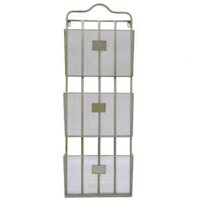 13 in. x 3.5 in. Metal Wall Storage Rack 3-Tiers in Silver