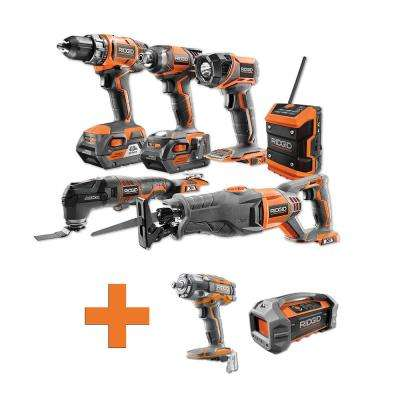 18-Volt Lithium-Ion Cordless Combo Kit (6-Tool) (2) 4Ah Batt and Charger w/Bonus Brushless Impact Wrench & Jobsite Radio