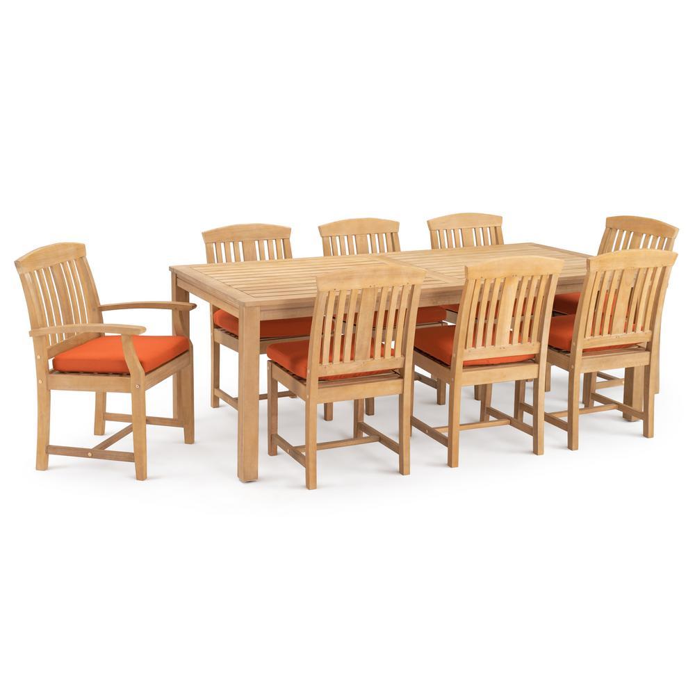 Kooper 9 piece wood outdoor dining set with sunbrella tikka orange cushions