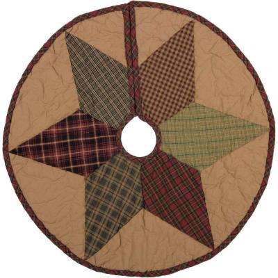 21 in. Tea Star Dark Tan Traditional Christmas Decor Mini Tree Skirt
