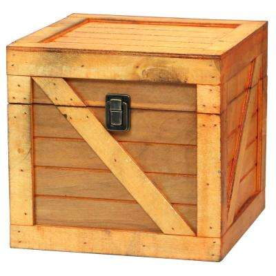 Wooden Stackable Treasure Chest Cargo Crate Style, Light Brown