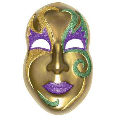 21 in. Mardi Gras Gold Plastic Mask 3D Decoration (2-Pack)