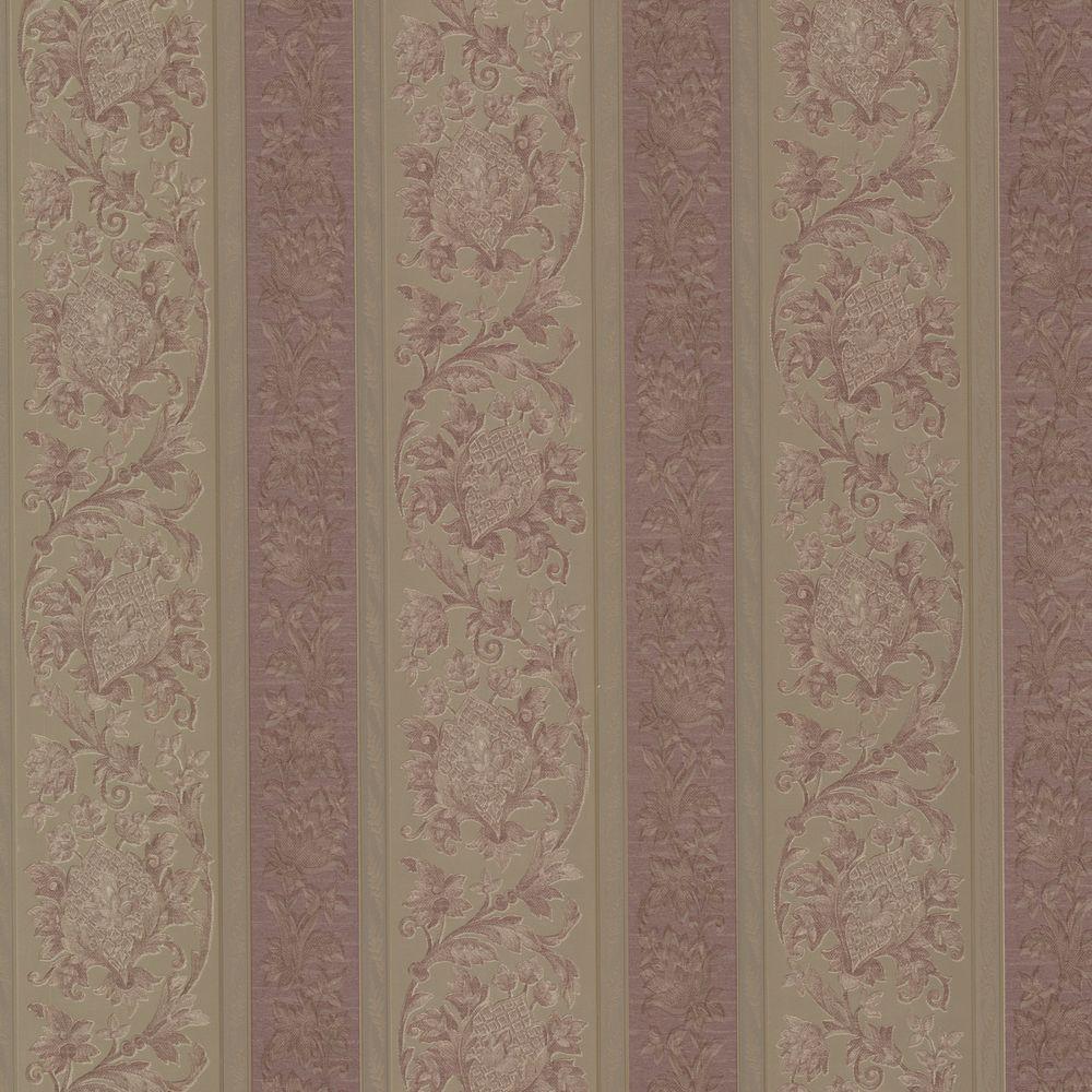 Sublime Mauve Scroll Stripe Wallpaper