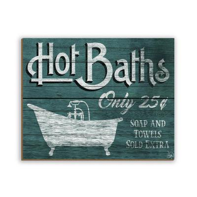 "11 in. x 14 in. ""Hot Baths Teal"" Planked Wood Wall Art Print"
