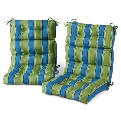22 in. x 44 in. Outdoor High Back Dining Chair Cushion in Cayman Stripe (2-Pack)