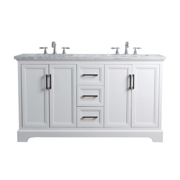 Double Sink Vanity In White With Marble
