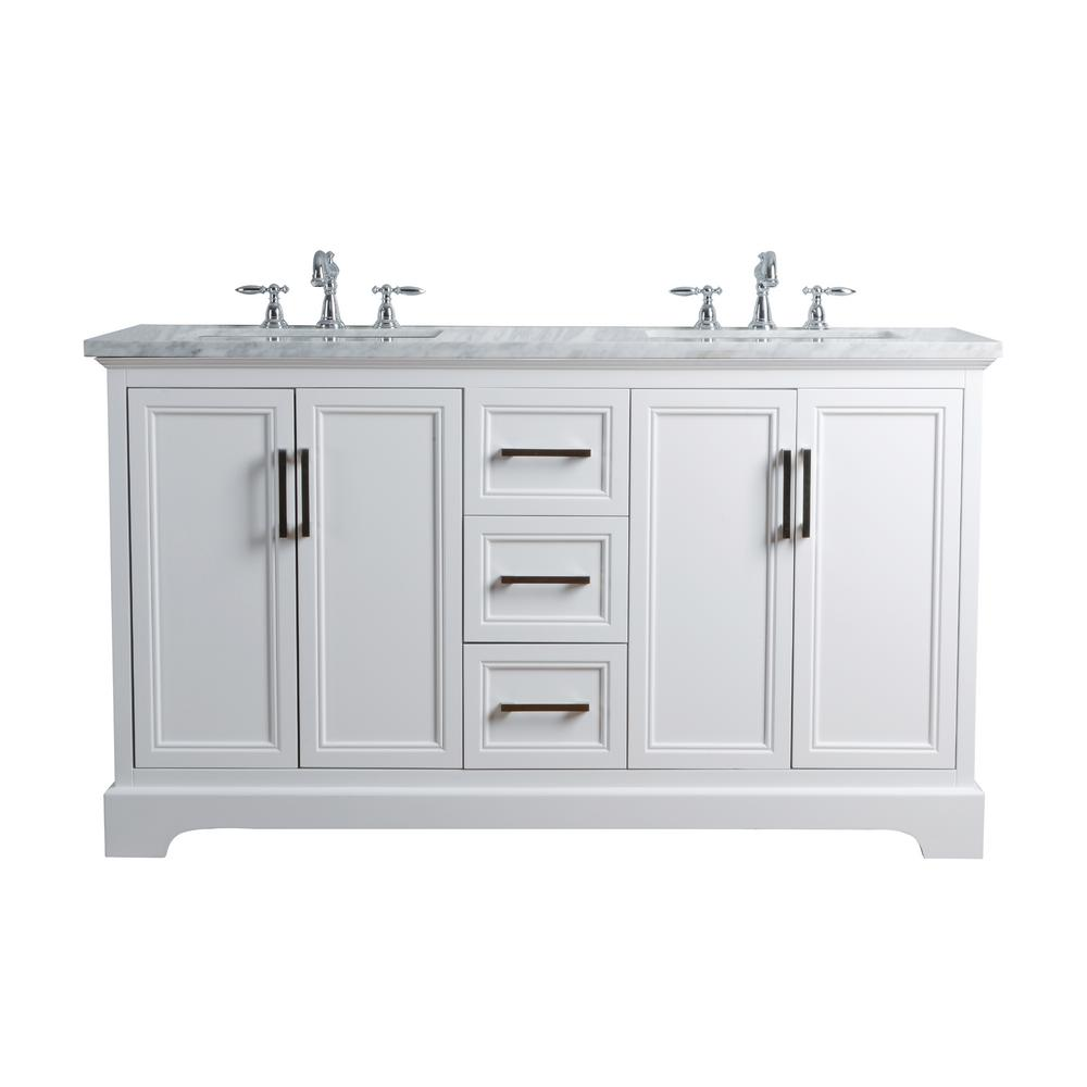 Stufurhome 60 In  Ariane Double Sink Vanity White With Marble Top Carrara