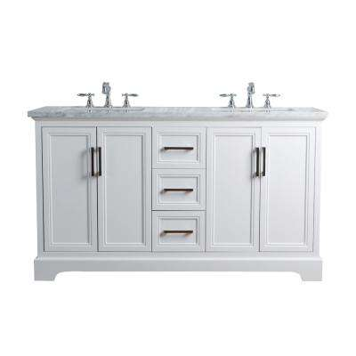 60 in. Ariane Double Sink Vanity in White with Marble Vanity Top in Carrara With White Basin