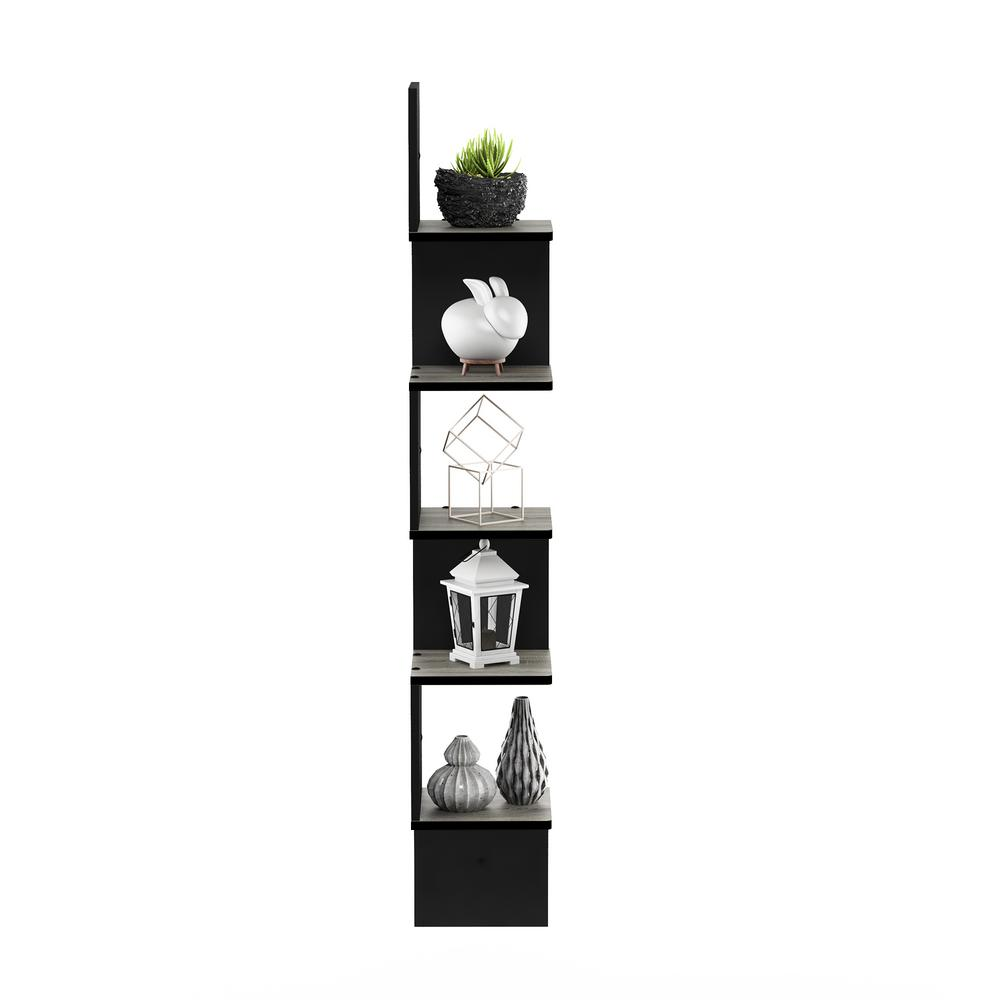 5 Tier French Oak Grey/Black Wall Mount Floating Corner Square Shelf
