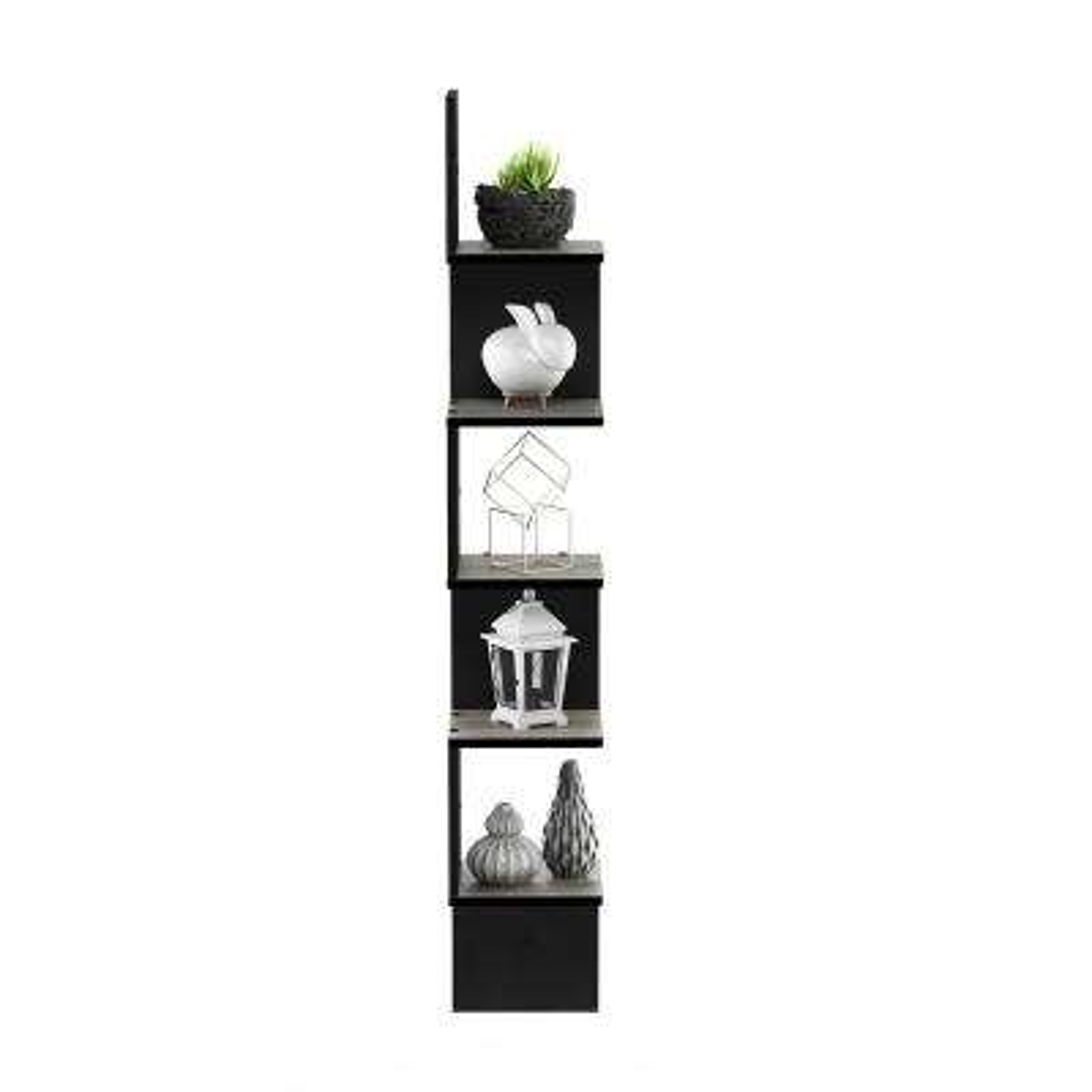 5 Tier French Oak Grey/Black Wall Mount Floating Corner Square Shelf