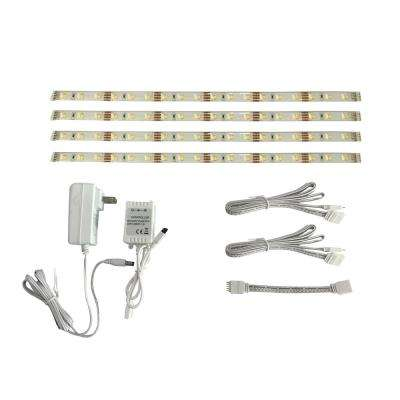 12 in. Smart Linkable RGBW Indoor LED Flexible Tape Light Kit (4-Strip Pack)