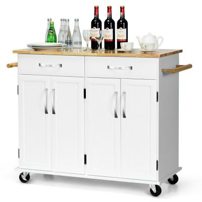 Kitchen Trolley Island Utility Cart Wood Top Rolling Storage Cabinet w/ Drawers White