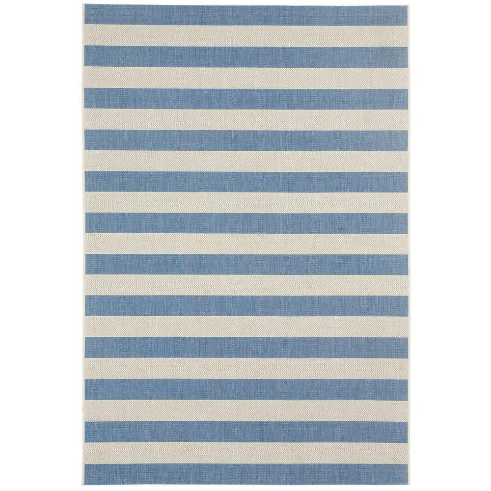 Elsinore Stripe Blueberry 8 ft. x 11 ft. Area Rug