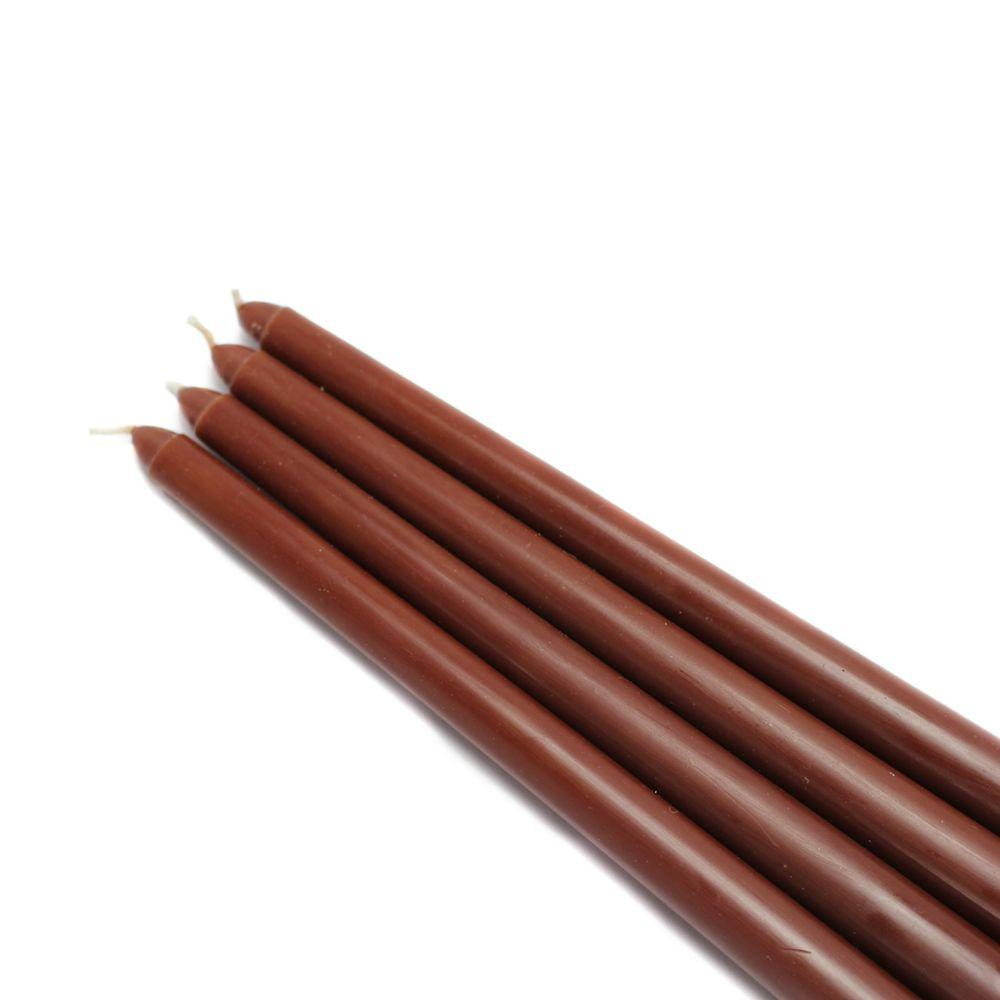 Zest Candle 12 in. Brown Taper Candles (12-Set)