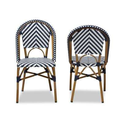 Celie White and Blue Dining Chair (Set of 2)
