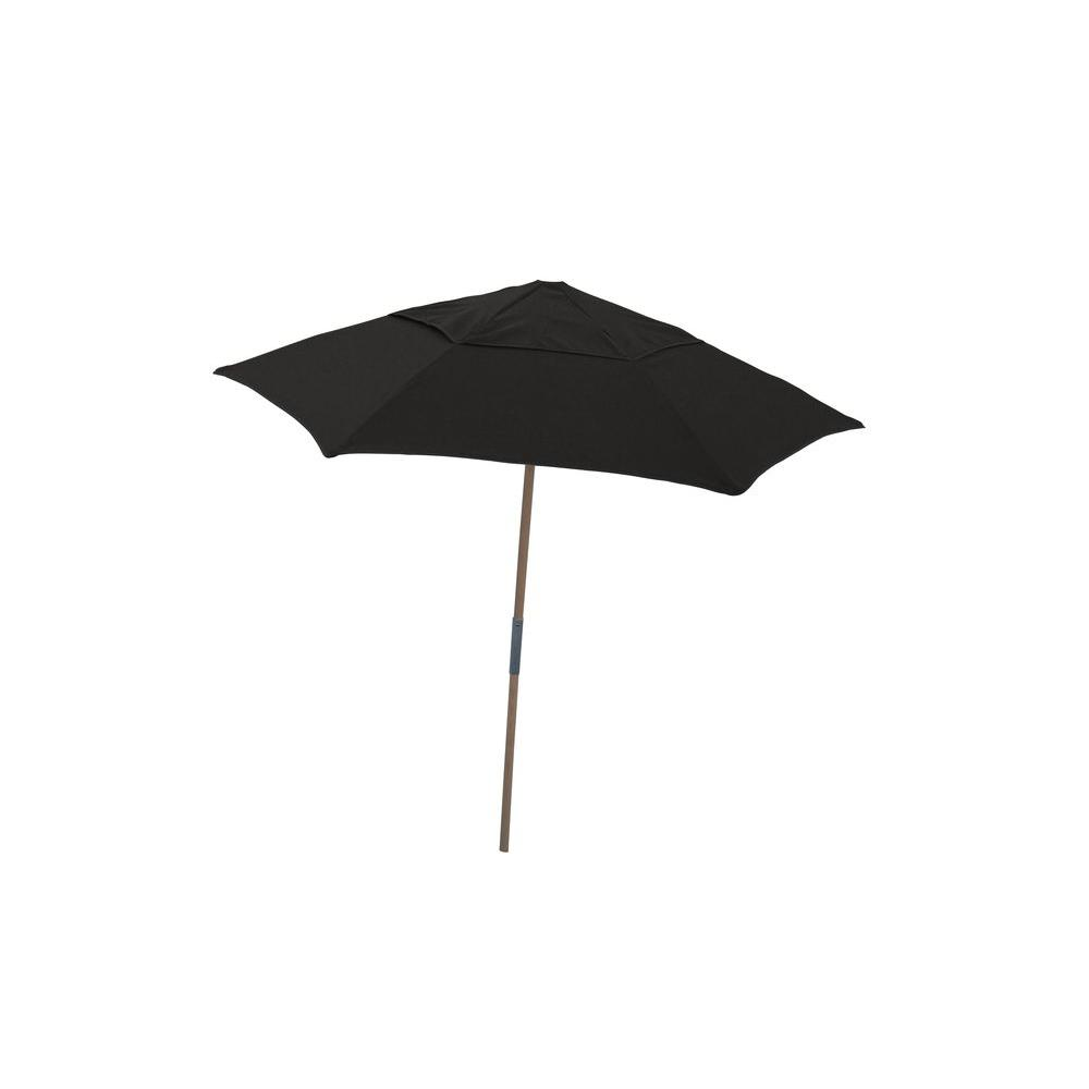 Image of: Beach Umbrella Intended Wood Outdoor Beach Umbrella With Black Spun Acrylic 75 Ft Acrylic7bpu6r