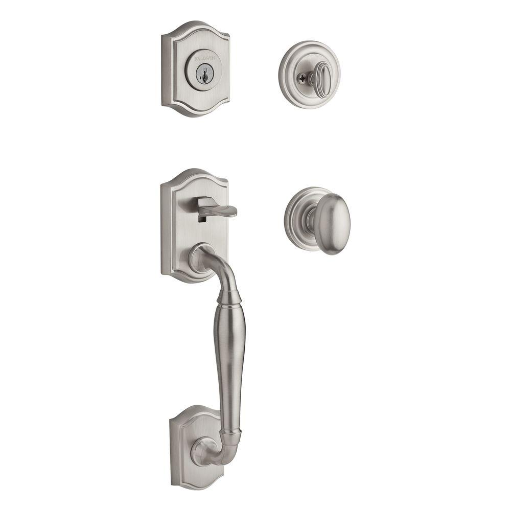 Baldwin Reserve Westcliff Single Cylinder Satin Nickel Handleset with Ellipse Knob and Traditional Round Rose