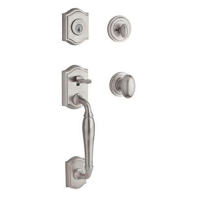 Reserve Westcliff Single Cylinder Satin Nickel Handleset with Ellipse Knob and Traditional Round Rose