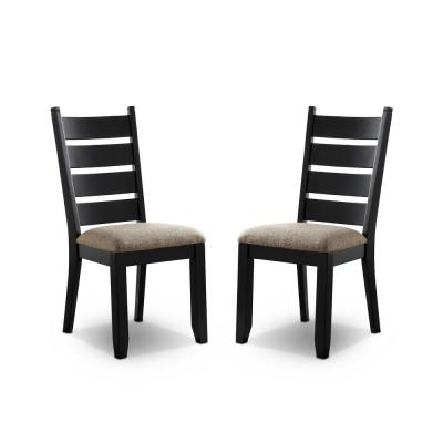 Woodrow Black and Beige Side Chairs (Set of 2)