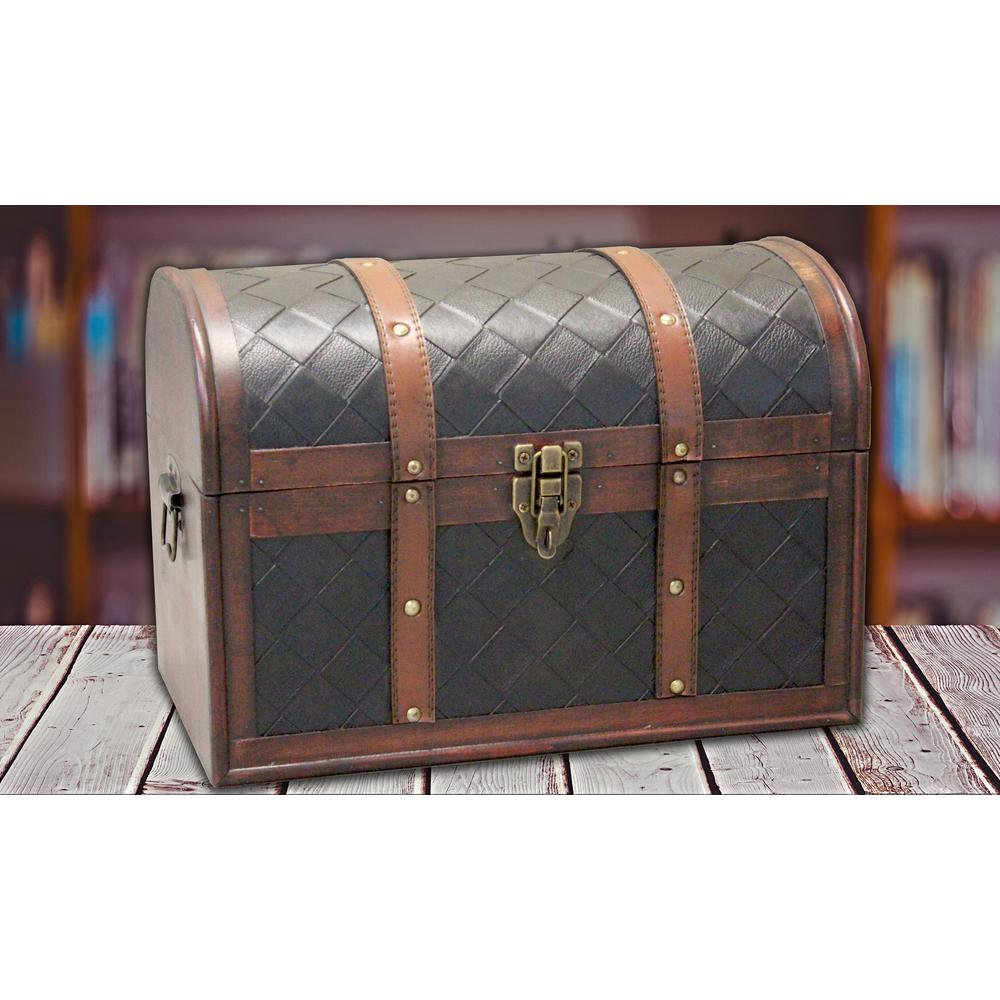 11.5 in. x 6.5 in. x 5 in. Wooden Faux Leather
