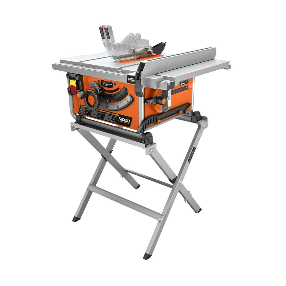 RIDGID 15 Amp Corded 10 in  Compact Table Saw with Carbide Tipped Blade and  Folding X-Stand