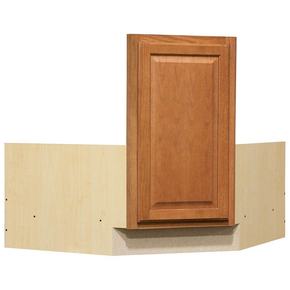 Reviews For Hampton Bay Hampton Partially Assembled 36 X 34 5 X 24 In Corner Sink Base Kitchen Cabinet In Medium Oak Kcsb36 Mo The Home Depot