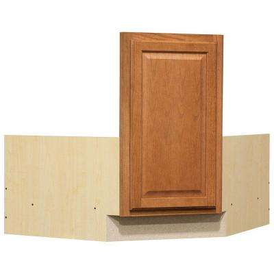 Hampton Ready to Assemble 36 x 34.5 x 24 in. Corner Sink Base Kitchen Cabinet in Medium Oak
