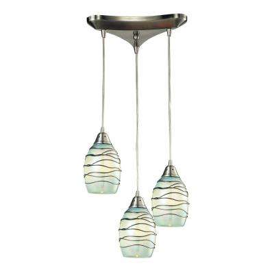 Helice Collection 3-Light Satin Nickel Mini Pendant