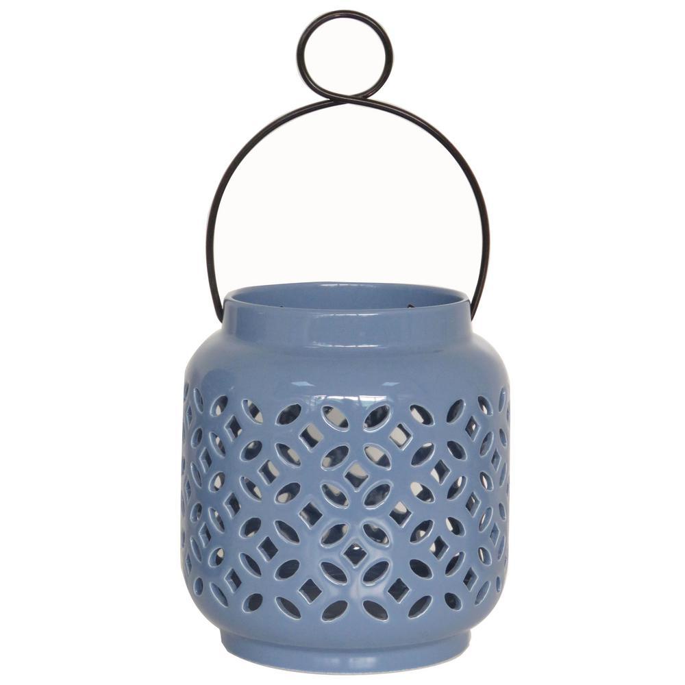 6.5 in. Denim Ceramic Lantern