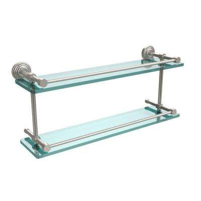 Waverly Place 22 in. L x 8 in. H x 5 in. W 2-Tier Clear Glass Bathroom Shelf with Gallery Rail in Satin Nickel