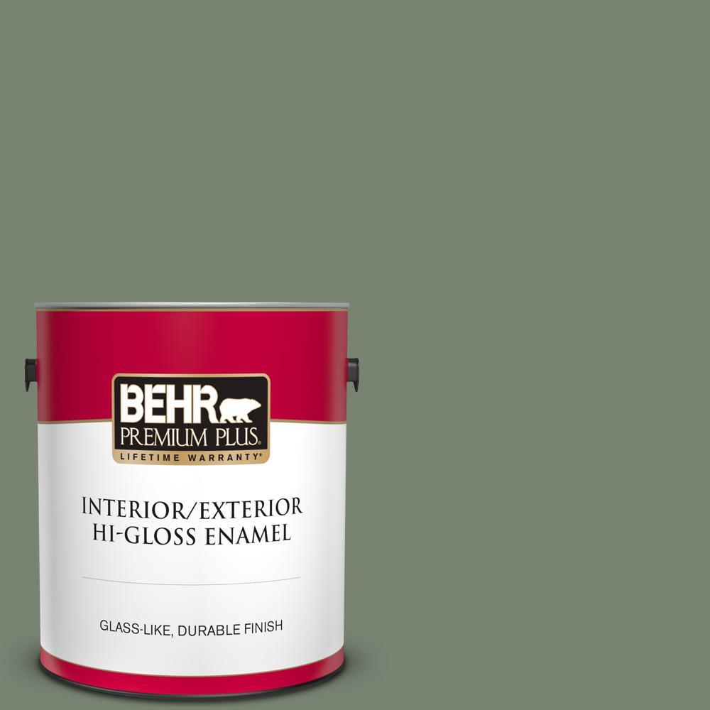 Behr Premium Plus 1 Gal Icc 77 Sage Green Hi Gloss Enamel Interior Exterior Paint