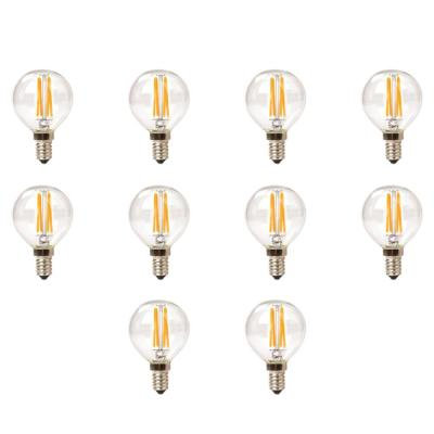Triglow 25-Watt Equivalent G16.5 Globe Dimmable Clear Glass Filament LED Light Bulb Warm White 2700K (10-Pack)