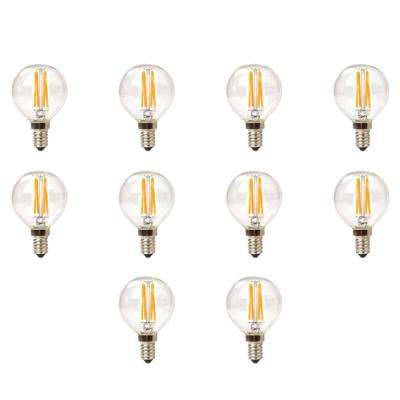 25-Watt Equivalent G16.5 Globe Dimmable Clear Glass Filament LED Light Bulb Warm White 2700K (10-Pack)