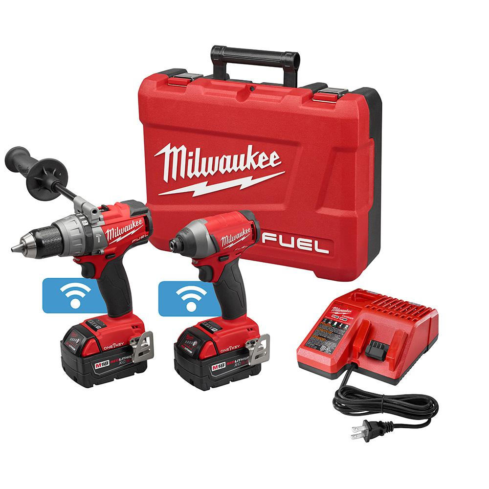 Milwaukee M18 FUEL ONE-KEY 18-Volt Lithium-Ion Brushless Cordless Hammer Drill/Impact Driver Combo Kit w/(2) 5.0Ah Batteries, Case