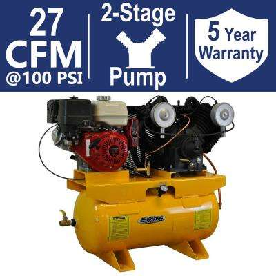 Premium Series 30 Gal. 13 HP V-4 Truck Mount Stationary Gas-Powered Air Compressor with pressure lubricated pump