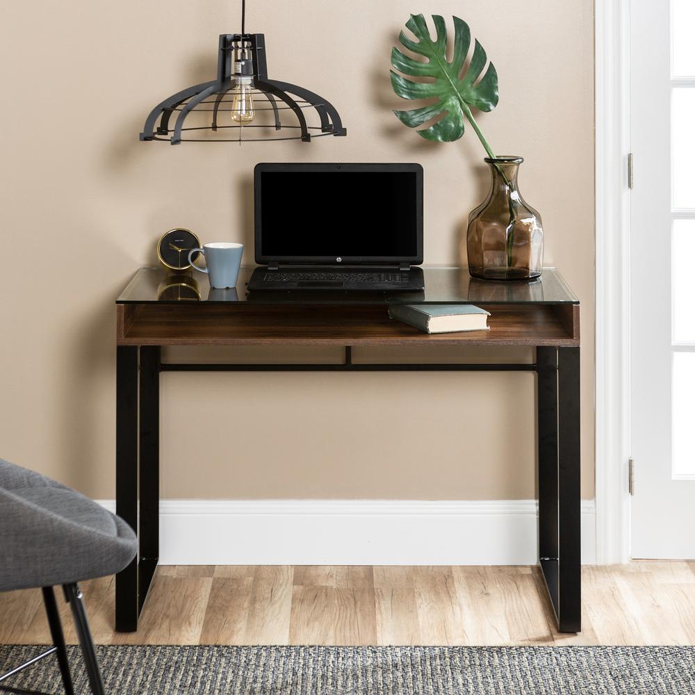 Dark Walnut And Black Modern Gl Top Desk