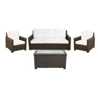 Laguna Point 4-Piece Brown Wicker Outdoor Patio Deep Seating Set with Bare Cushions