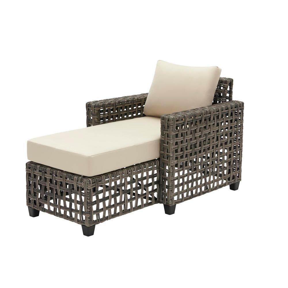 Briar Ridge Brown Wicker Outdoor Patio Chaise Lounge with Sunbrella Beige Tan Cushions