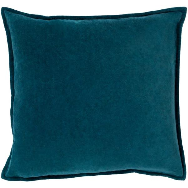 Velizh Teal Solid Polyester 22 in. x 22 in. Throw Pillow