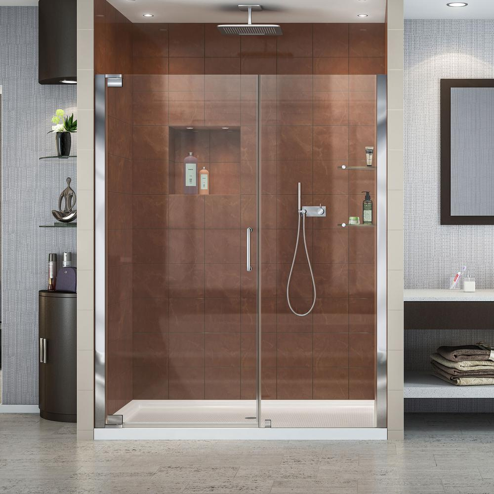 DreamLine Elegance 60 in. x 34 in. x 74.75 in. Semi-Frameless Pivot Shower Door in Chrome with Right Drain White Acrylic Base