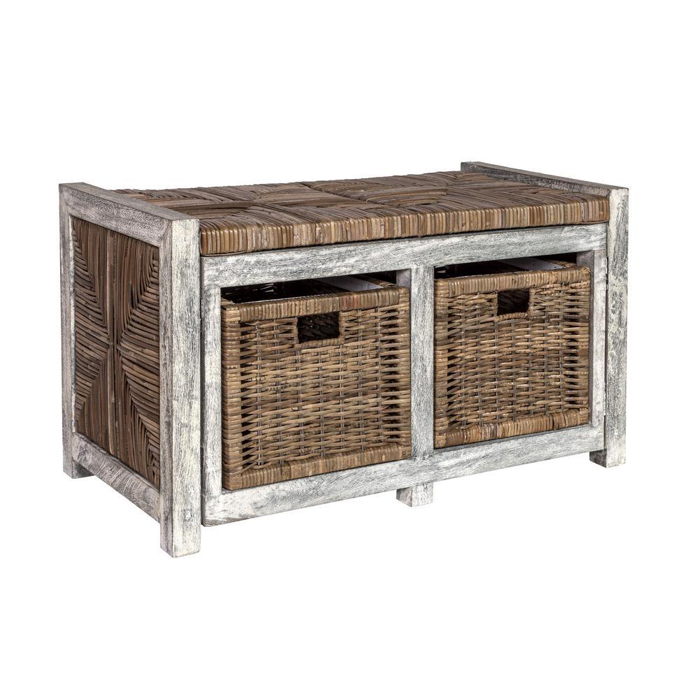 "Rustic 30"" 2 Drawer Wicker Storage Bench, Gray"