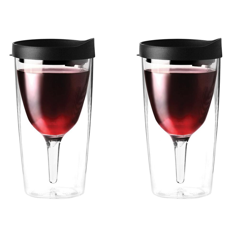 2-Piece Black 10 oz. Vino 2 Go Wine Tumbler Set